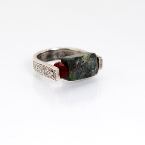 The Rock - Ring in turquoise, red quartz, fine silver