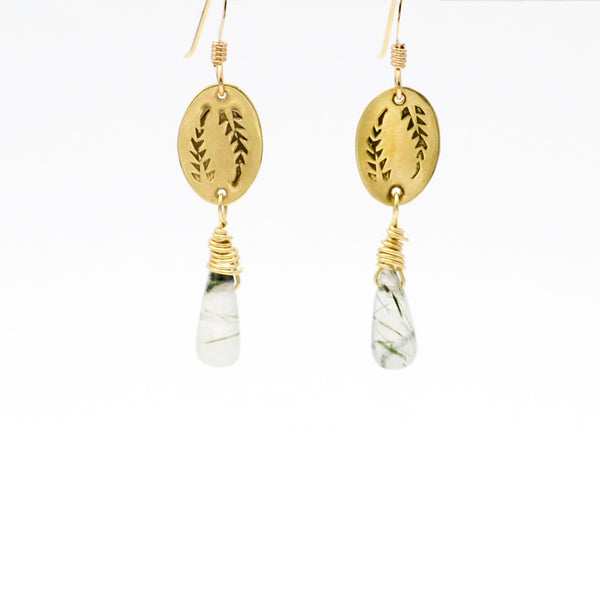 Triumph Palm Frond Dangle Earrings in Brass & Rutilated Quartz-Tracy Hibsman Studio