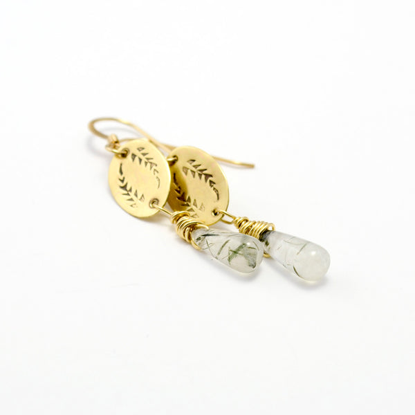Triumph Palm Frond Dangle Earrings in Brass & Rutilated Quartz