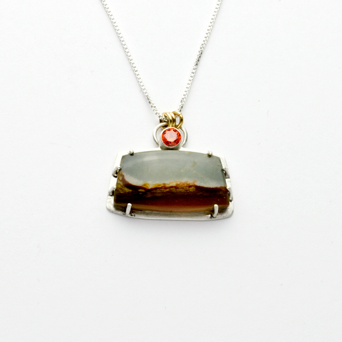 Journey 2 Necklace with Landscape Jasper in Sterling Silver