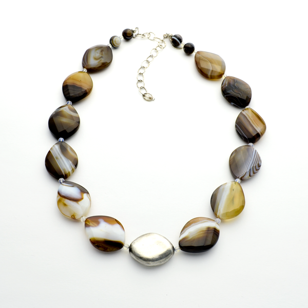 The Rock Banded Agate & Fine Silver One of a Kind Christian Necklace-Tracy Hibsman Studio