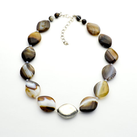 The Rock Banded Agate & Fine Silver One of a Kind Christian Necklace