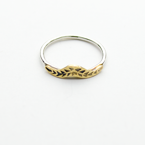 Triumph Palm Frond Sterling Silver & Brass Stacker Ring