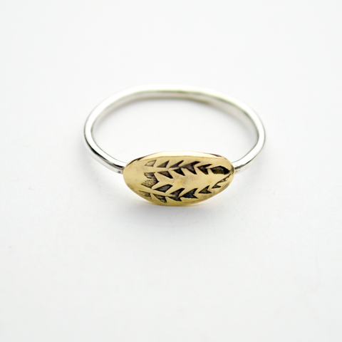 Triumph Oval Palm Frond Sterling Silver & Brass Stacker Ring