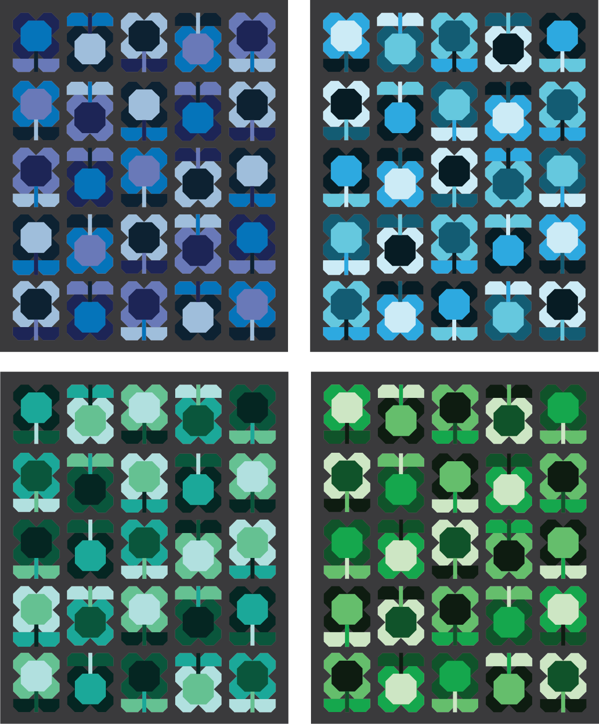 Folk Blooms Quilt in cool colors - Sewfinity.com
