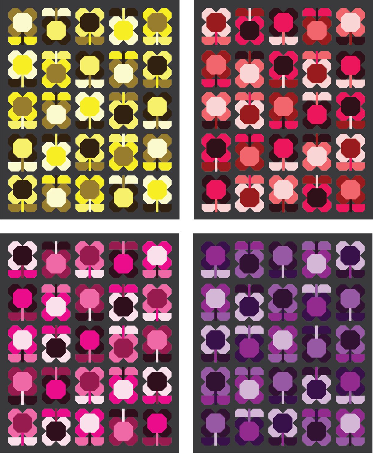Folk Blooms Quilt in warm colors - Sewfinity.com