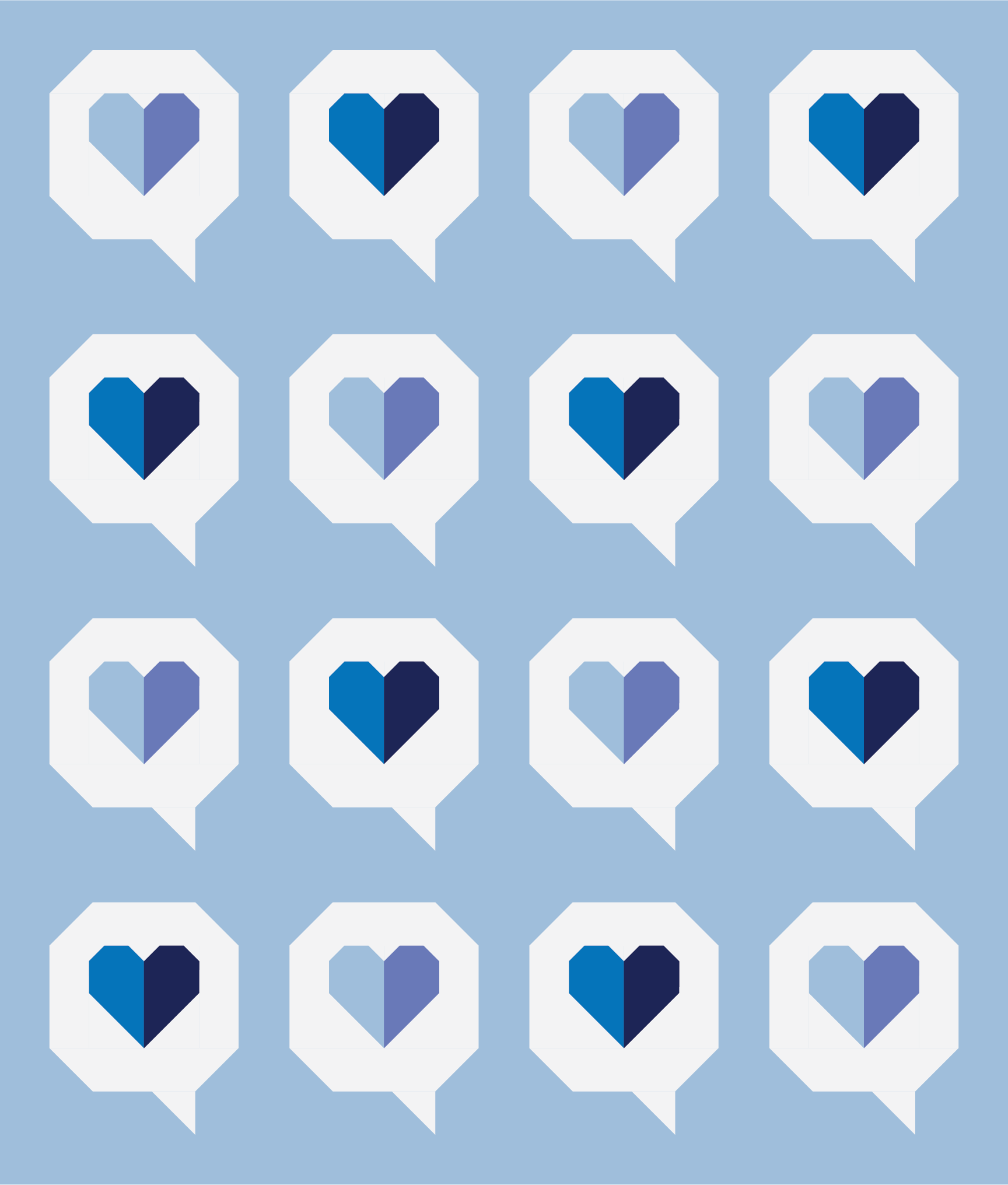 I Heart You Quilt by Then Came June: Blue Cyan version by Sewfinity