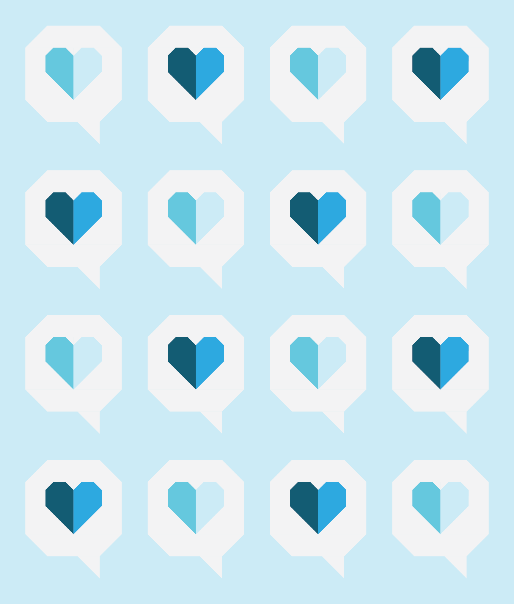 I Heart You Quilt by Then Came June: Cyan version by Sewfinity