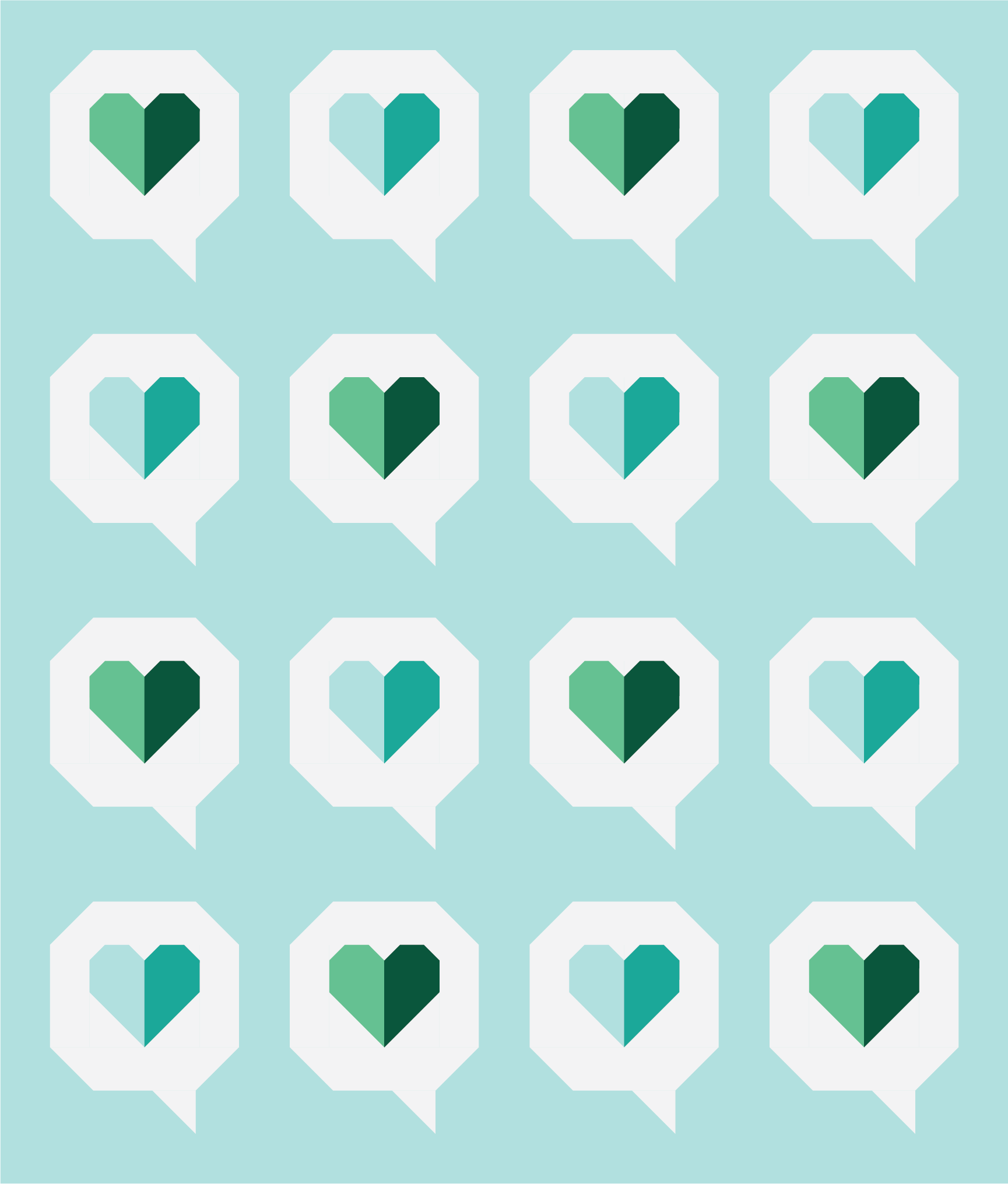 I Heart You Quilt by Then Came June: Green Cyan version by Sewfinity