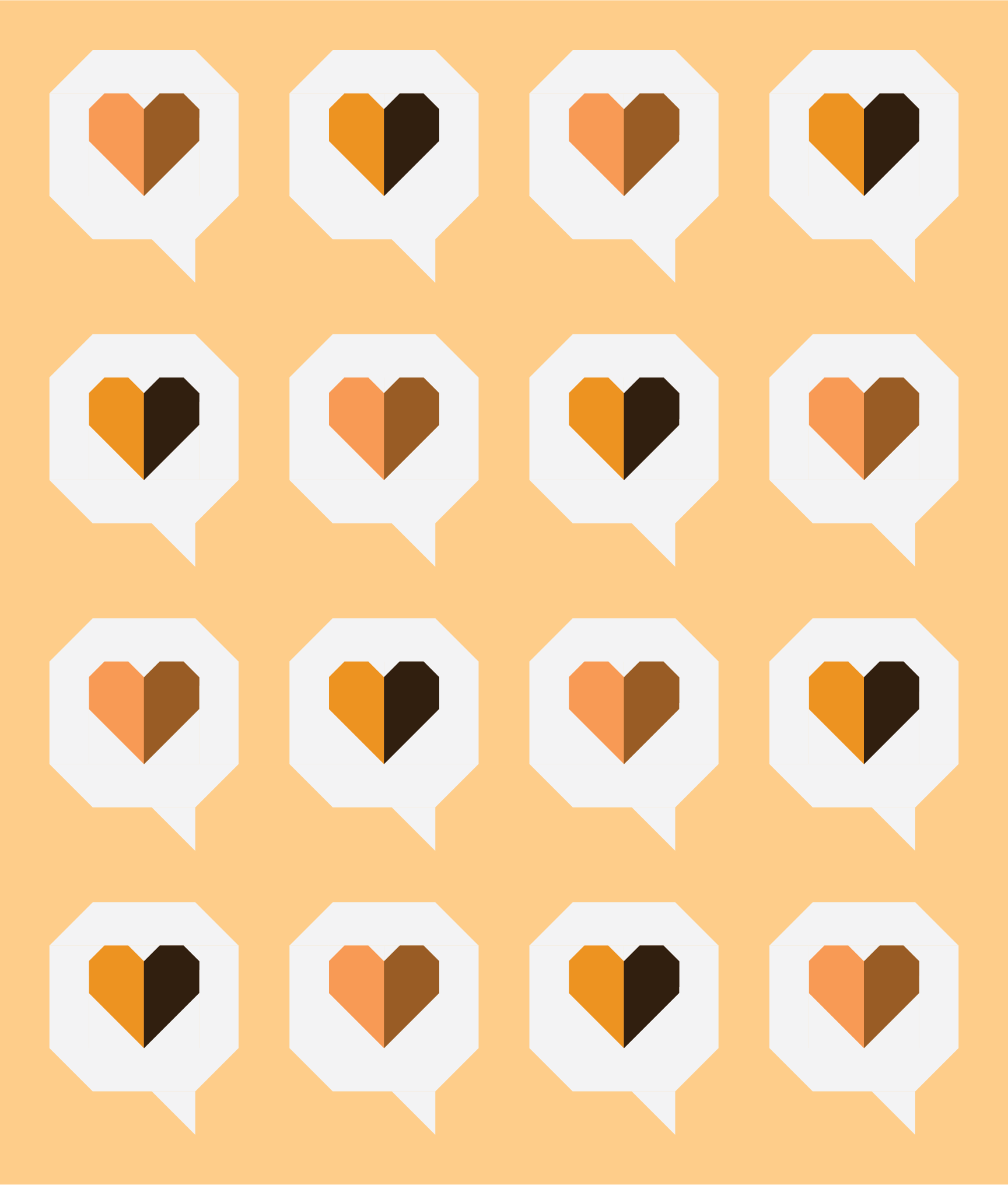 I Heart You Quilt by Then Came June: Orange version by Sewfinity