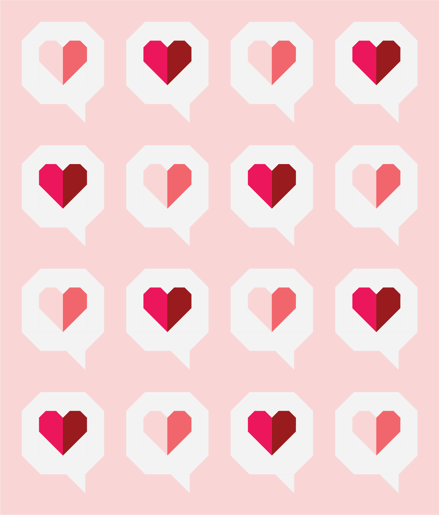 I Heart You Quilt by Then Came June: Red Magenta version by Sewfinity