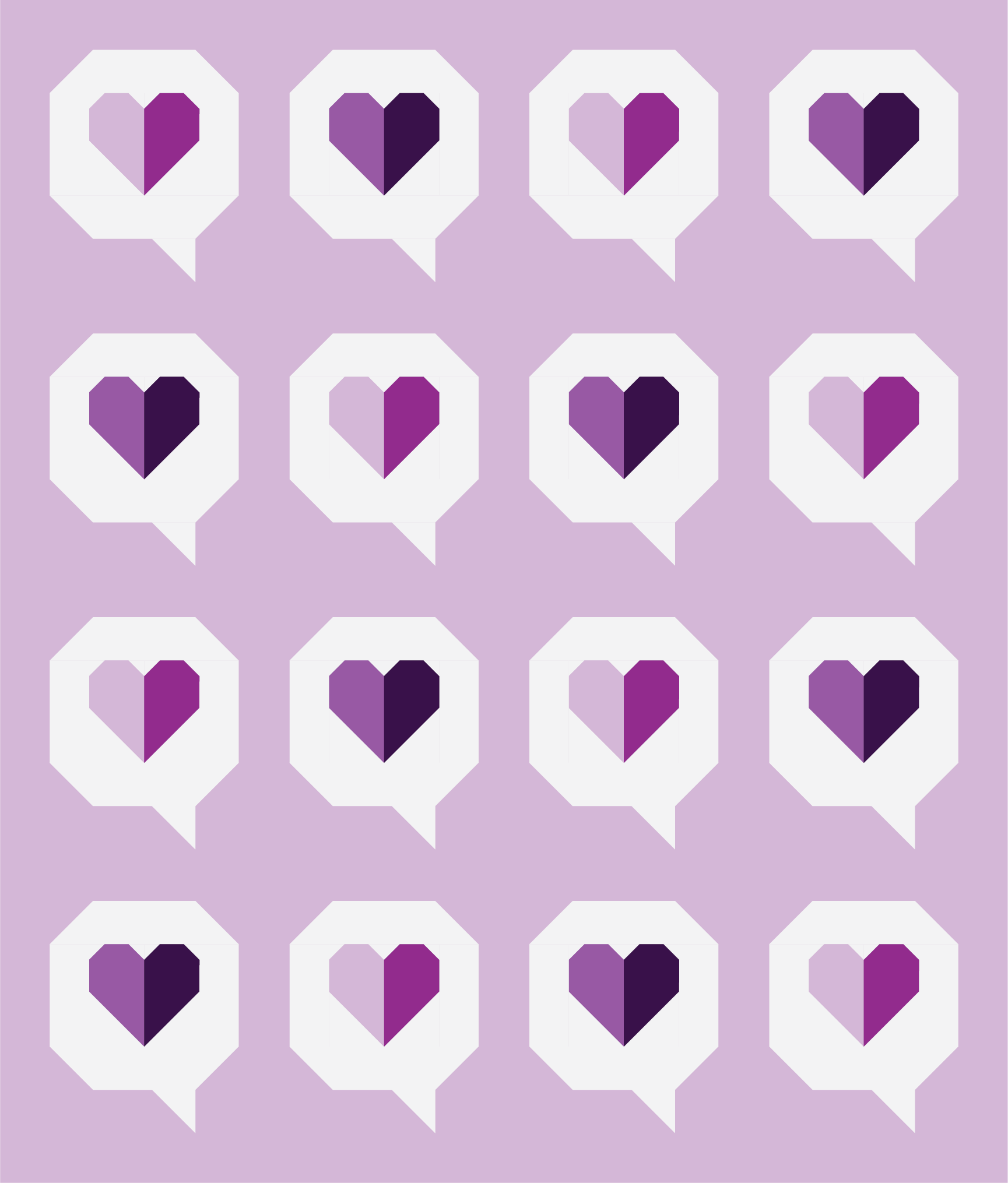 I Heart You Quilt by Then Came June: Violet version by Sewfinity