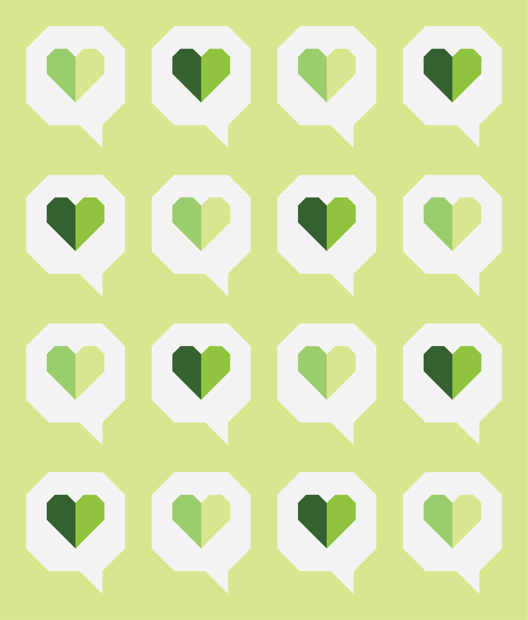 I Heart You Quilt by Then Came June: Yellow Green version by Sewfinity