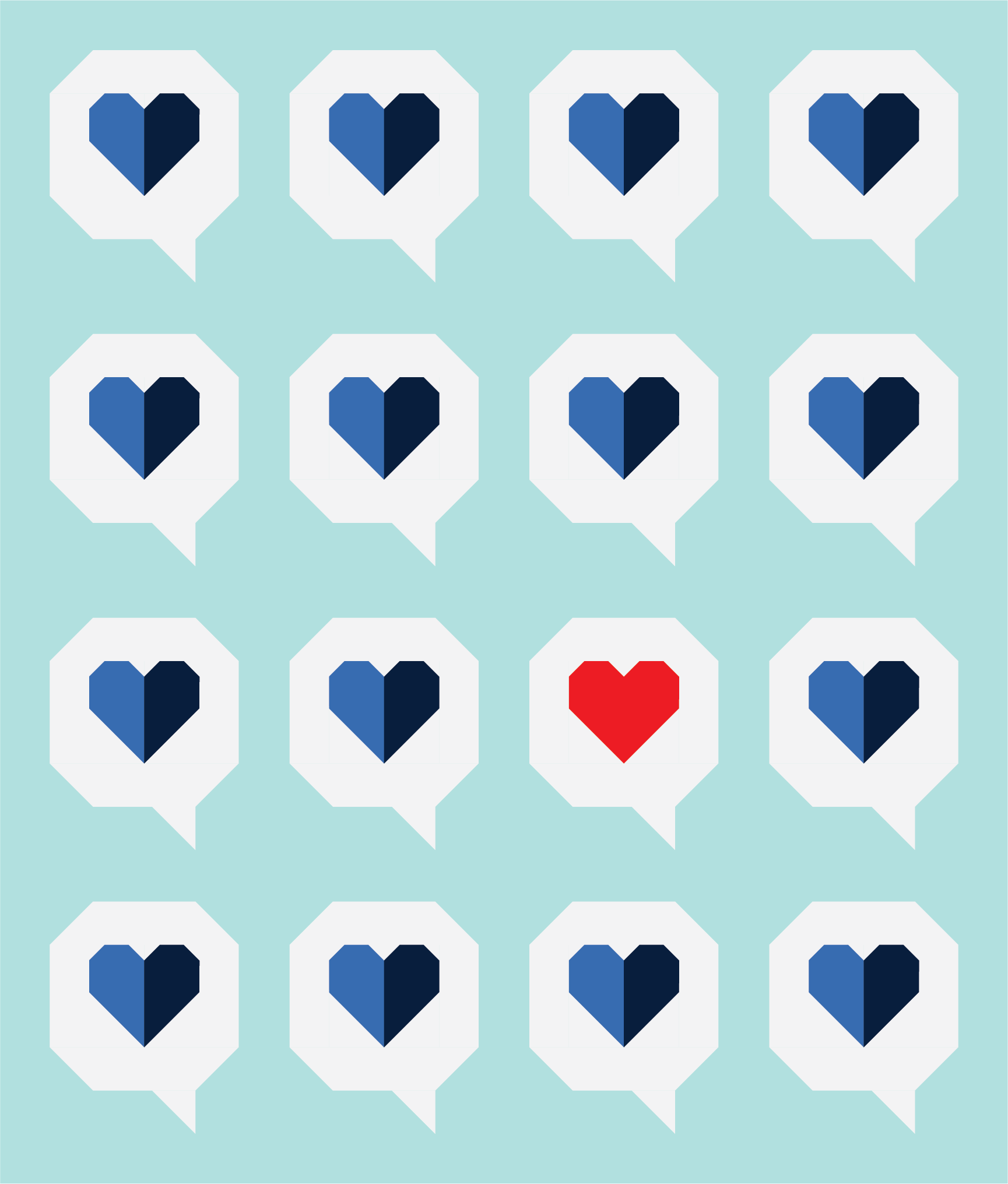 I Heart You Quilt by Then Came June: red + blue version by Sewfinity