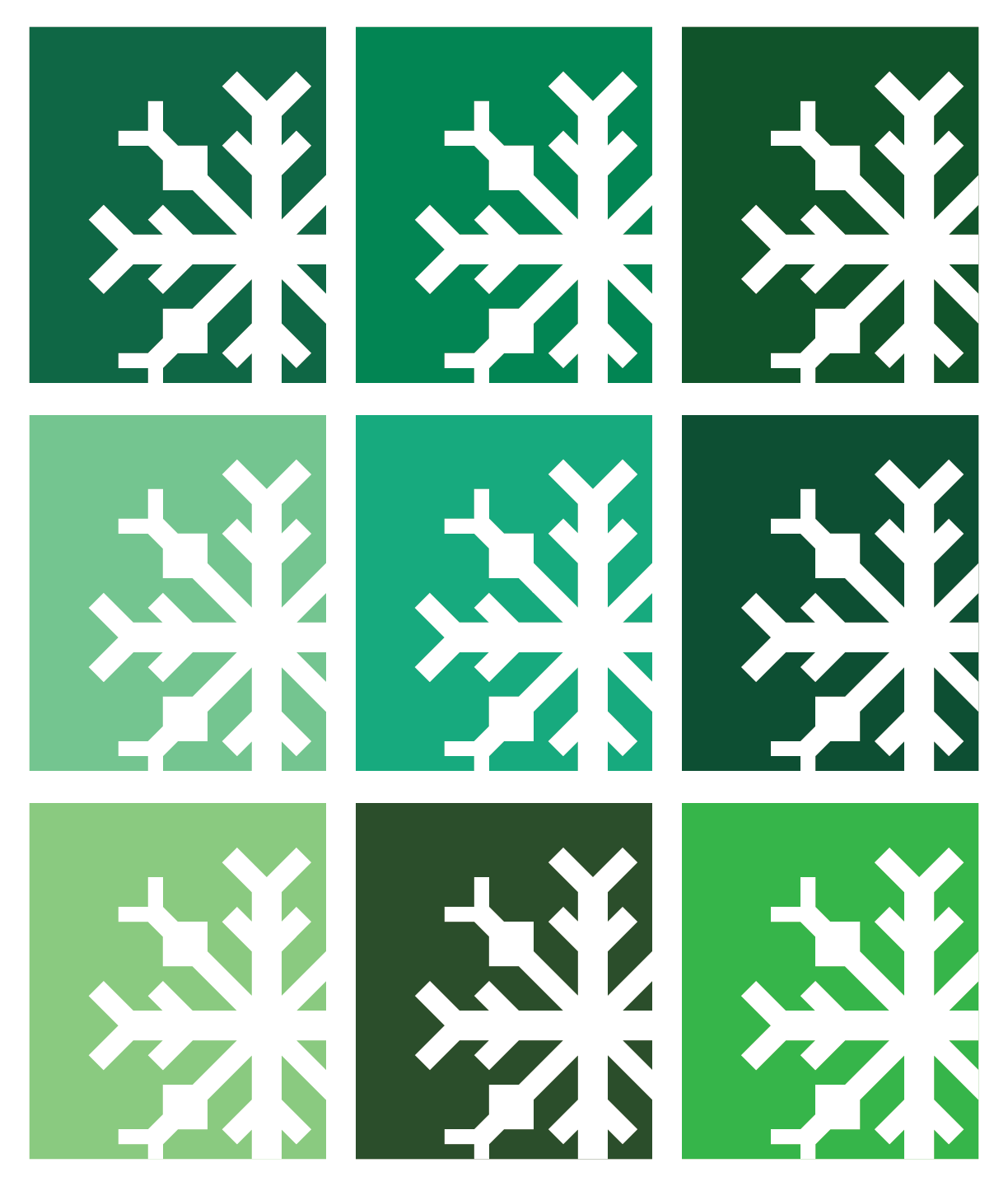 Snowflake Quilt in Green Colors