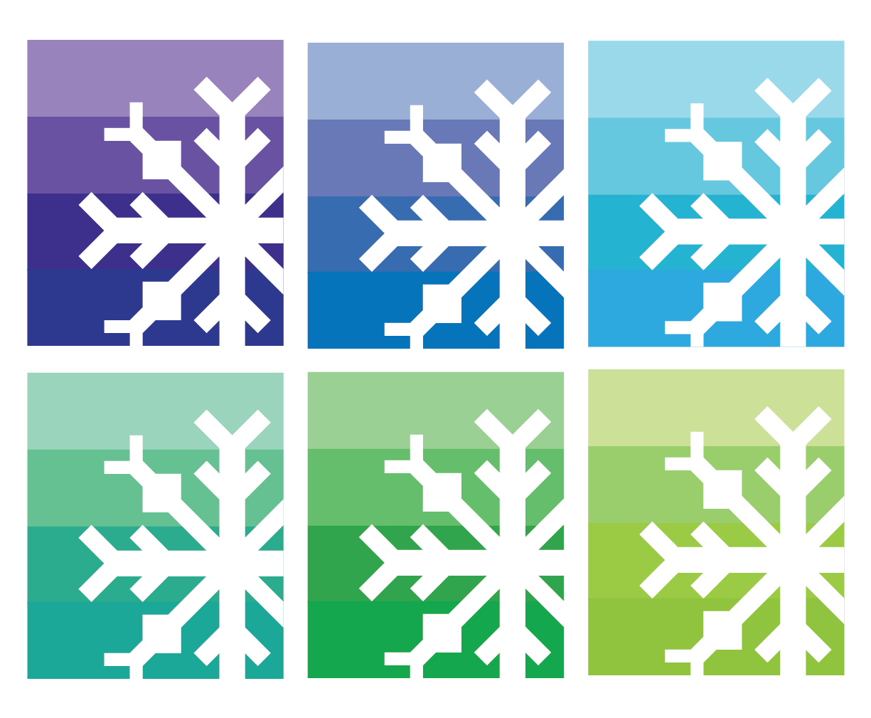 Snowflake Quilt in Gradient of Cool Colors
