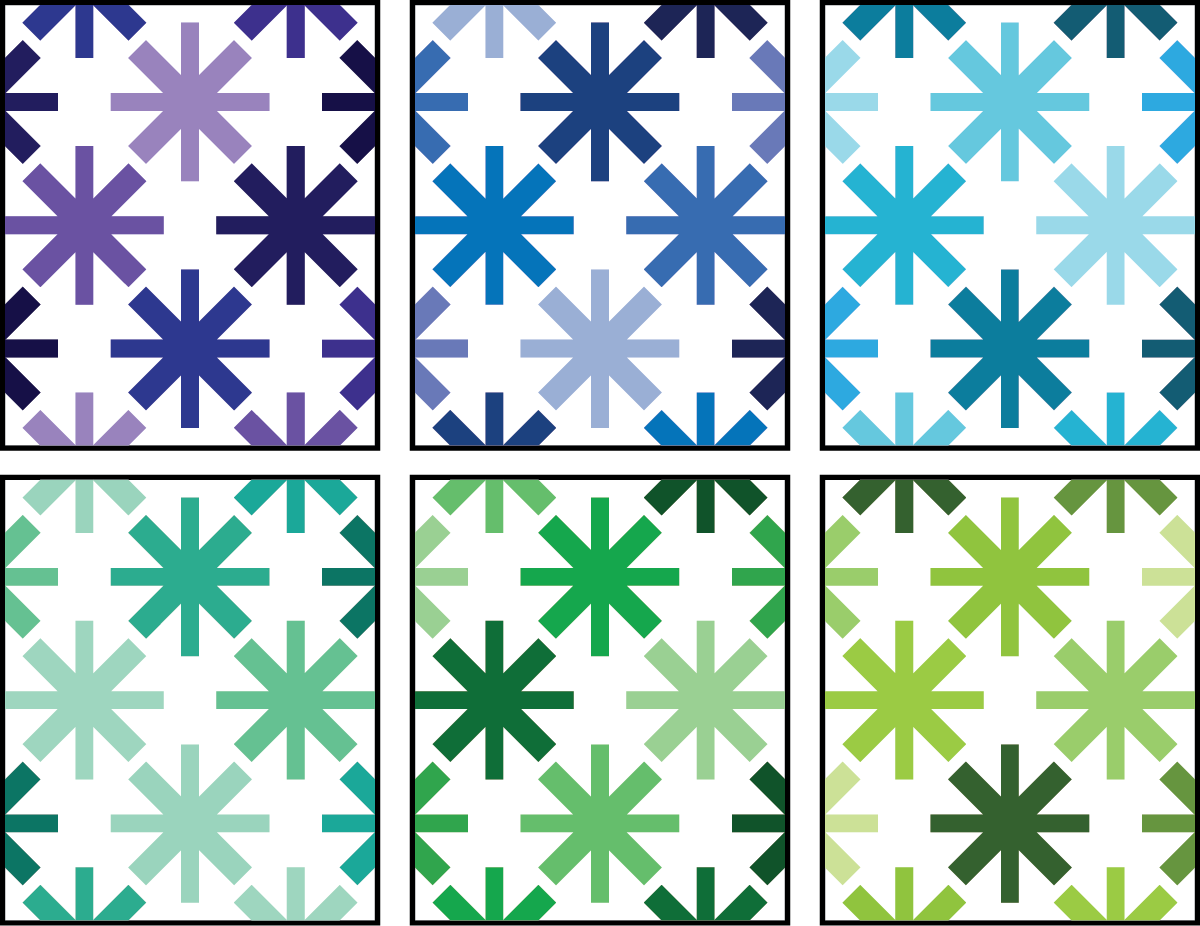 Asterisks Quilt Pattern by Modern Handcraft - cool color ideas by Sewfinity