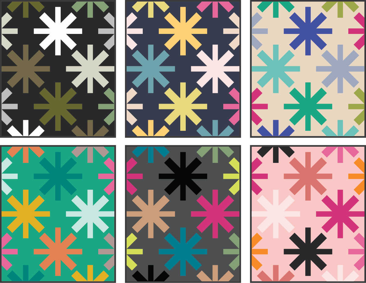 Asterisks Quilt Pattern by Modern Handcraft - color ideas by Sewfinity