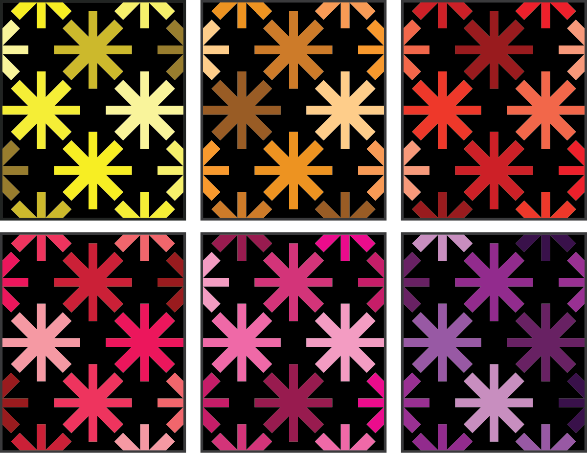 Asterisks Quilt Pattern by Modern Handcraft - warm color ideas by Sewfinity