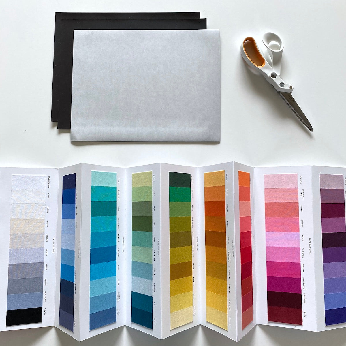 Century Solids Color Card, adhesive magnetic sheets, scissors