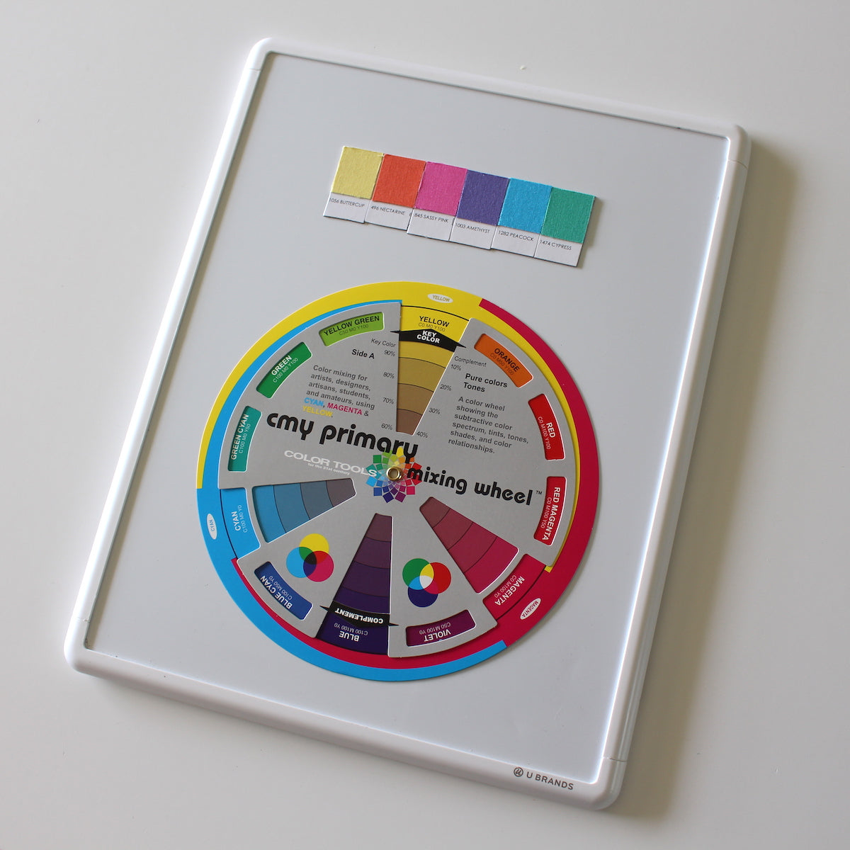 CMY color wheel and palette of Kona Cotton fabric swatches