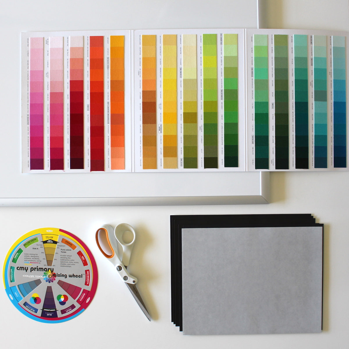 Kona Cotton color card and supplies to make fabric swatch magnets