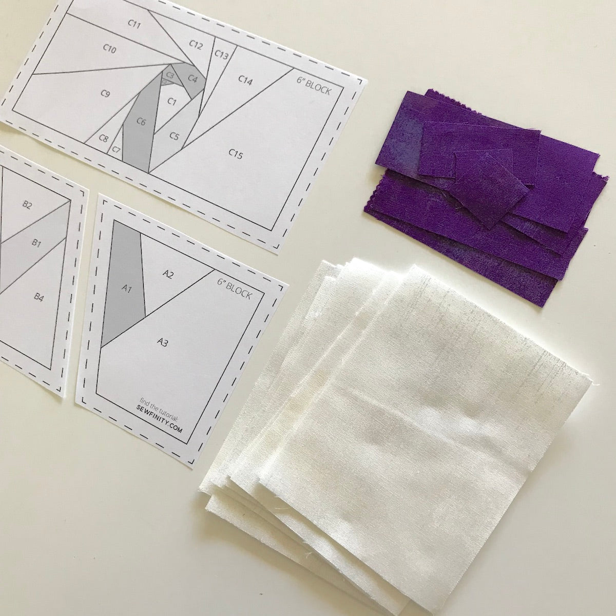Foundation Paper Piecing Pattern and fabric