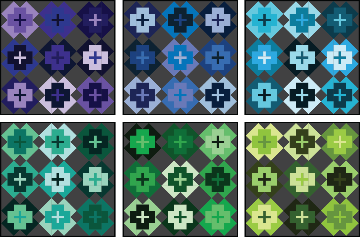 Nightingale Quilt in cool colors on a dark background - Sewfinity.com