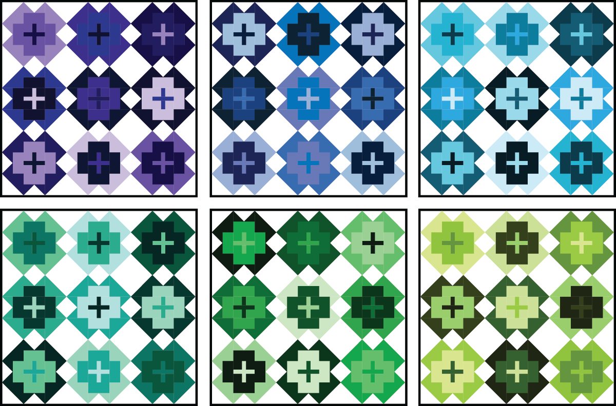 Nightingale Quilt in cool colors on a light background - Sewfinity.com