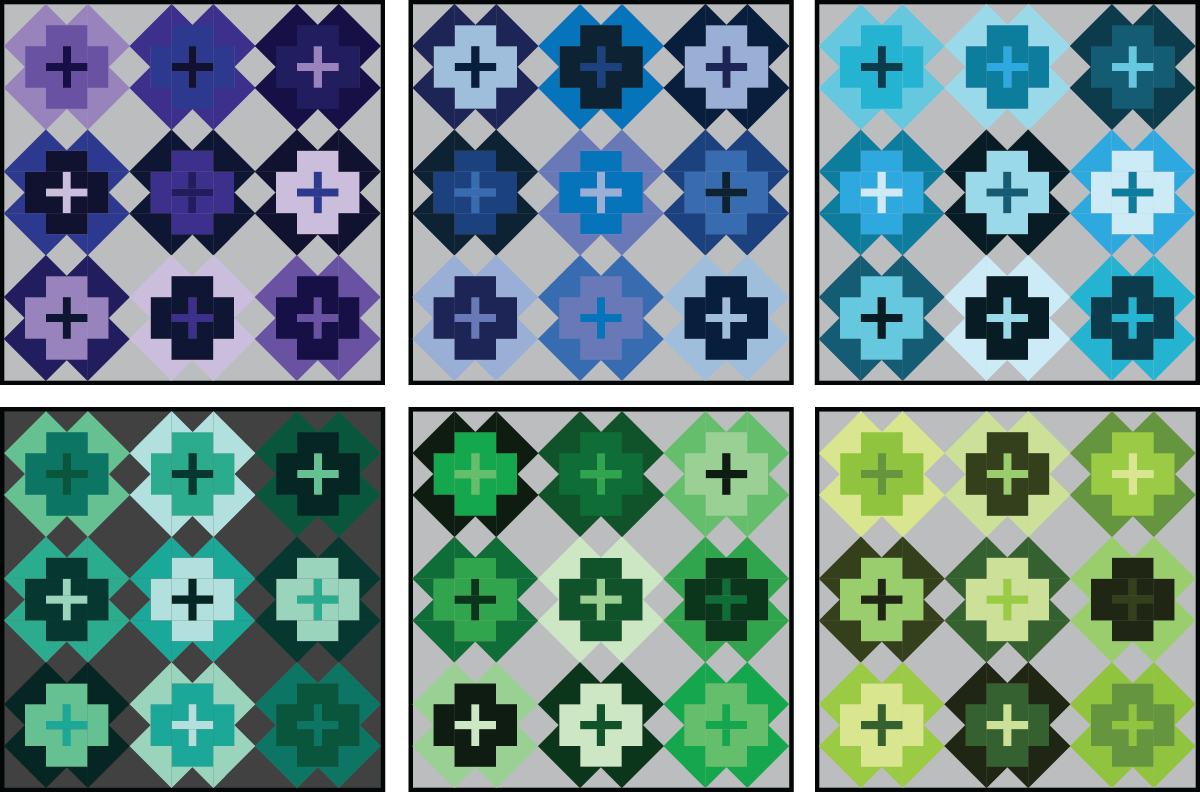 Nightingale Quilt in cool colors on a medium background - Sewfinity.com