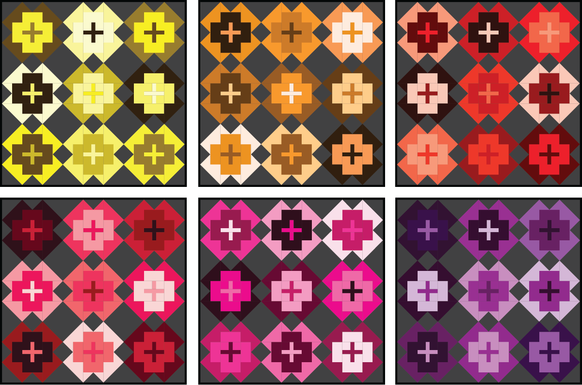 Nightingale Quilt in warm colors on a dark background - Sewfinity.com