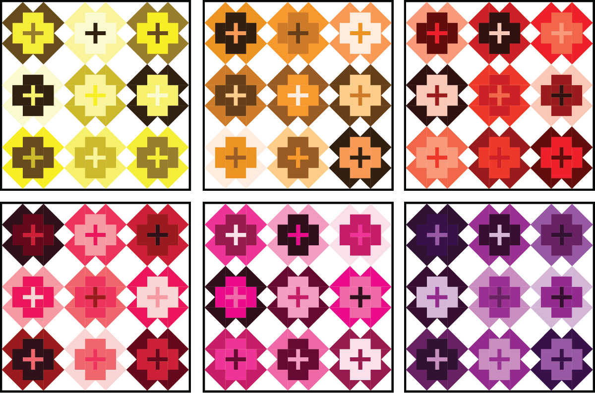 Nightingale Quilt in warm colors on a light background - Sewfinity.com