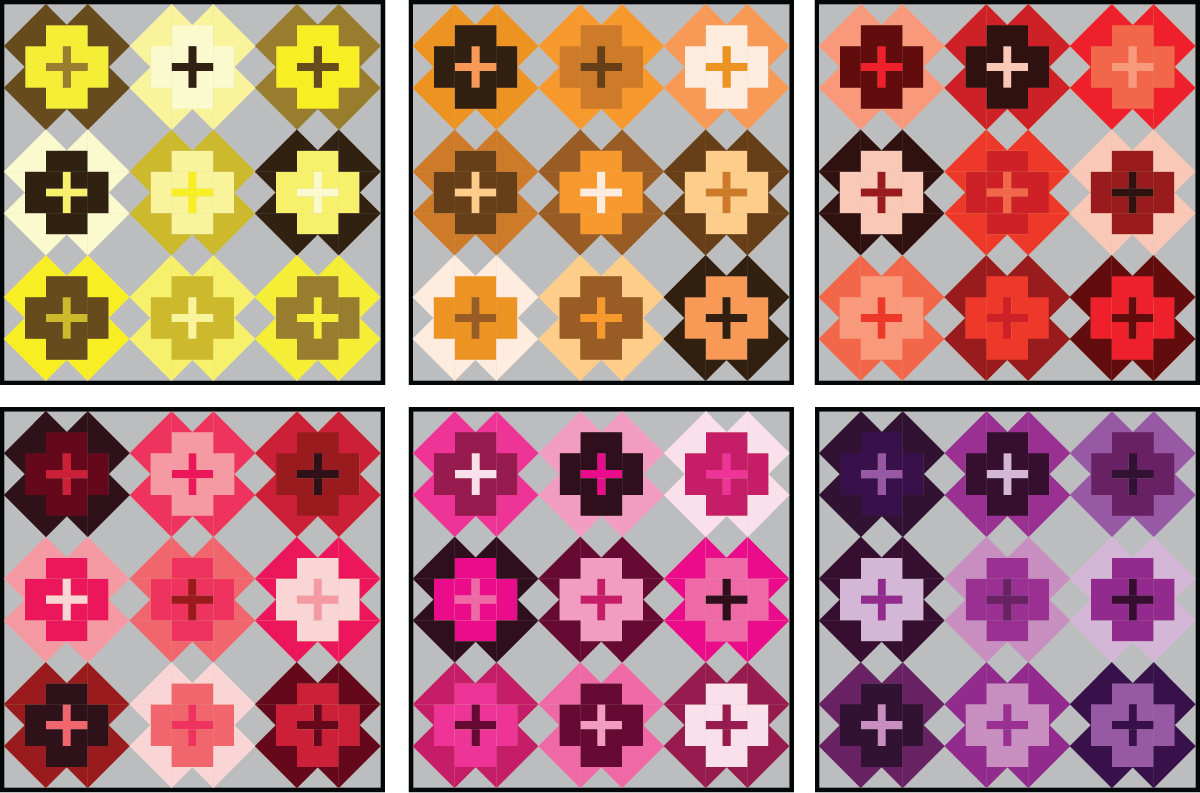 Nightingale Quilt in warm colors on a medium background - Sewfinity.com