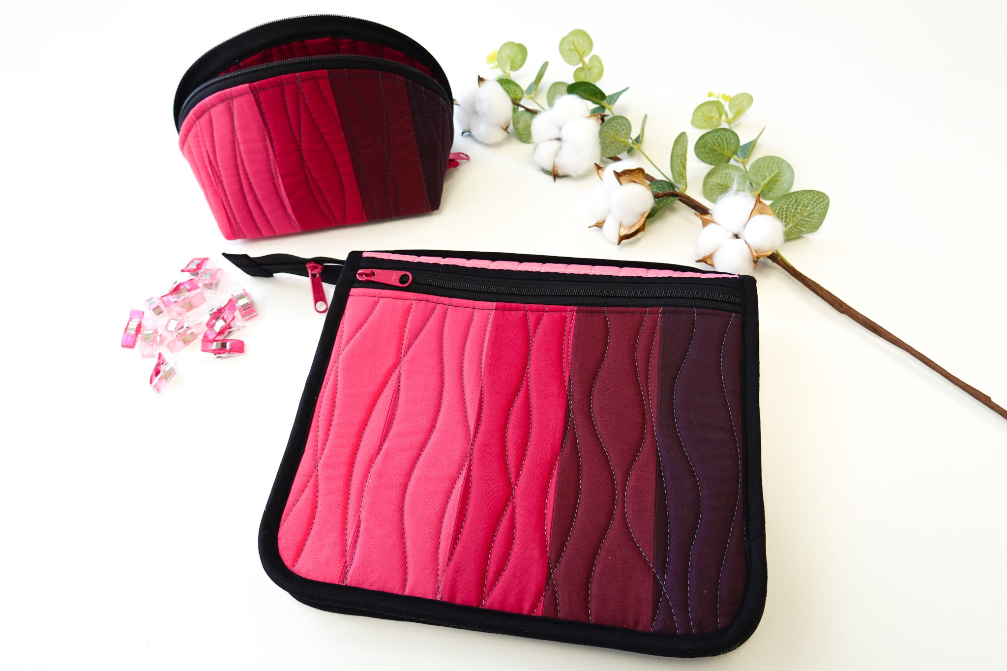 SewPINK: Awareness Ribbon Zip It Up Organizer and matching Clam Up Pouch by Sewfinity