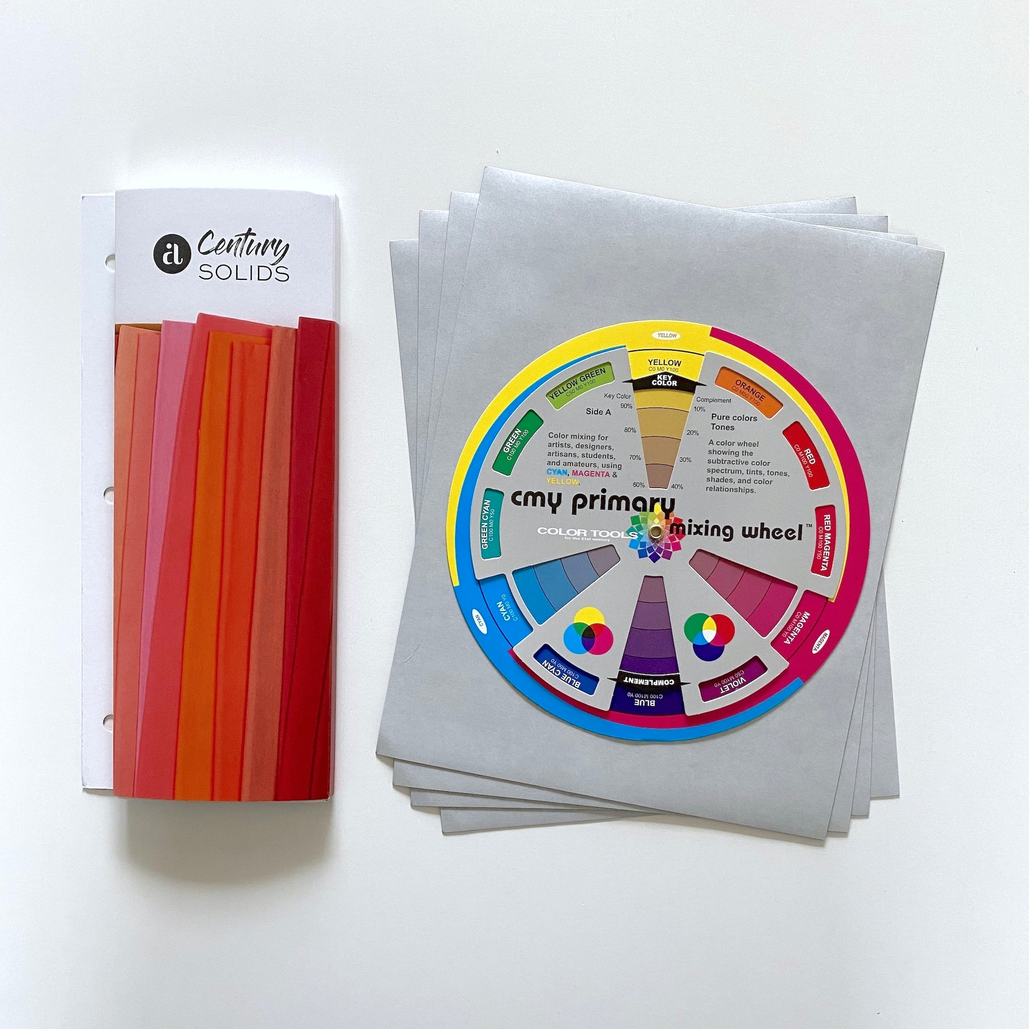 Fabric Swatch Magnet Kit - Century Solids: color card, adhesive magnetic sheets, color wheel