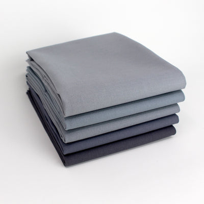 Greyscale Medium 5 Fat Quarter Bundle - Kona Cotton