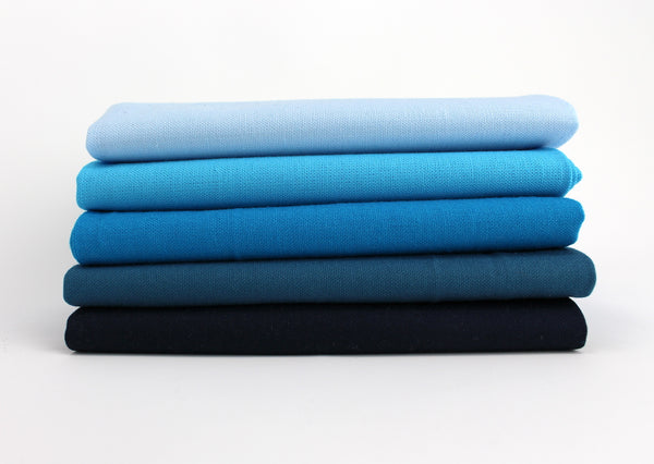 Cyan 5 Fat Quarter Bundle - Kona Cotton - Sewfinity