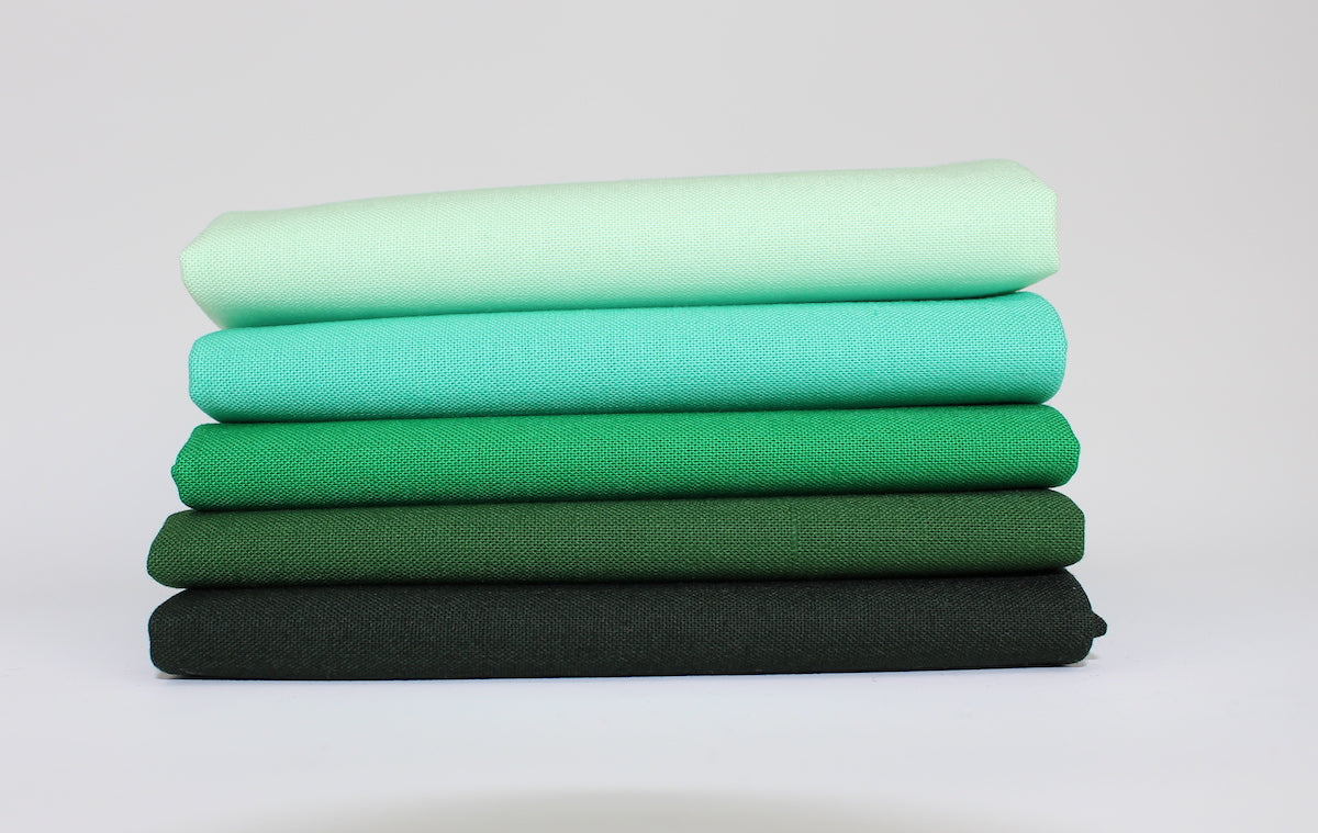 Green 5 Fat Quarter Bundle - Kona Cotton
