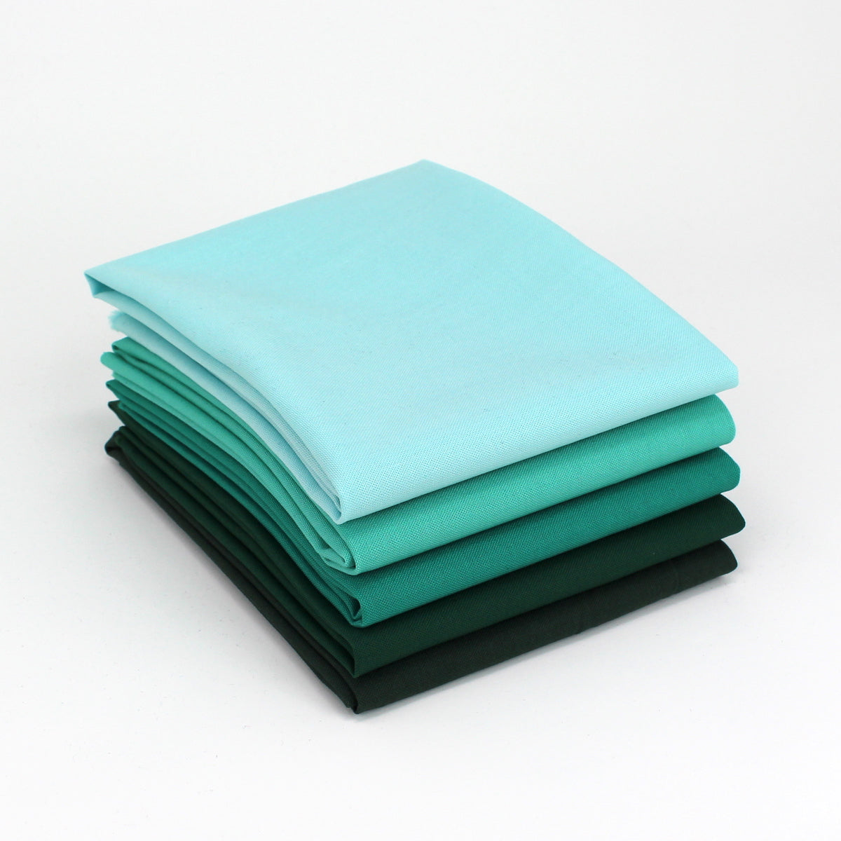 Green Cyan 5 Fat Quarter Bundle - Kona Cotton