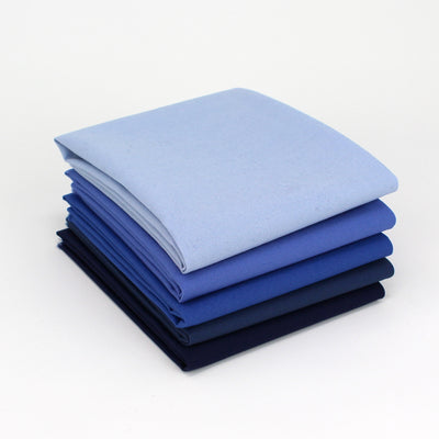 Blue Cyan 5 Fat Quarter Bundle - Kona Cotton