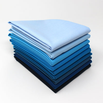 Cyan 9 Fat Quarter Bundle - Kona Cotton