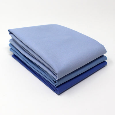 Blue Cyan Light 3 Fat Quarter Bundle - Kona Cotton