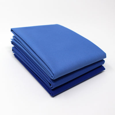 Blue Cyan Medium 3 Fat Quarter Bundle - Kona Cotton