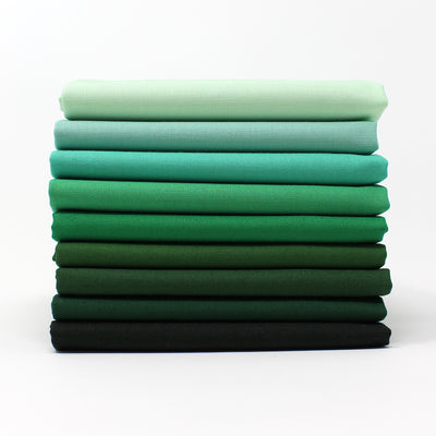 Green 9 Fat Quarter Bundle - Kona Cotton