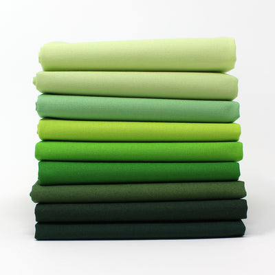 Yellow Green 9 Fat Quarter Bundle - Kona Cotton
