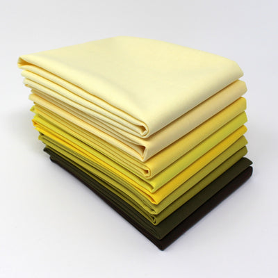 Yellow 9 Fat Quarter Bundle - Kona Cotton