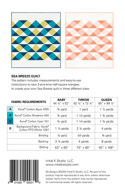 Sea Breeze Quilt Pattern by Initial K Studio