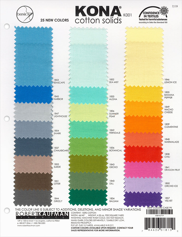 Kona Cotton Color Card - 25 New Colors 2019