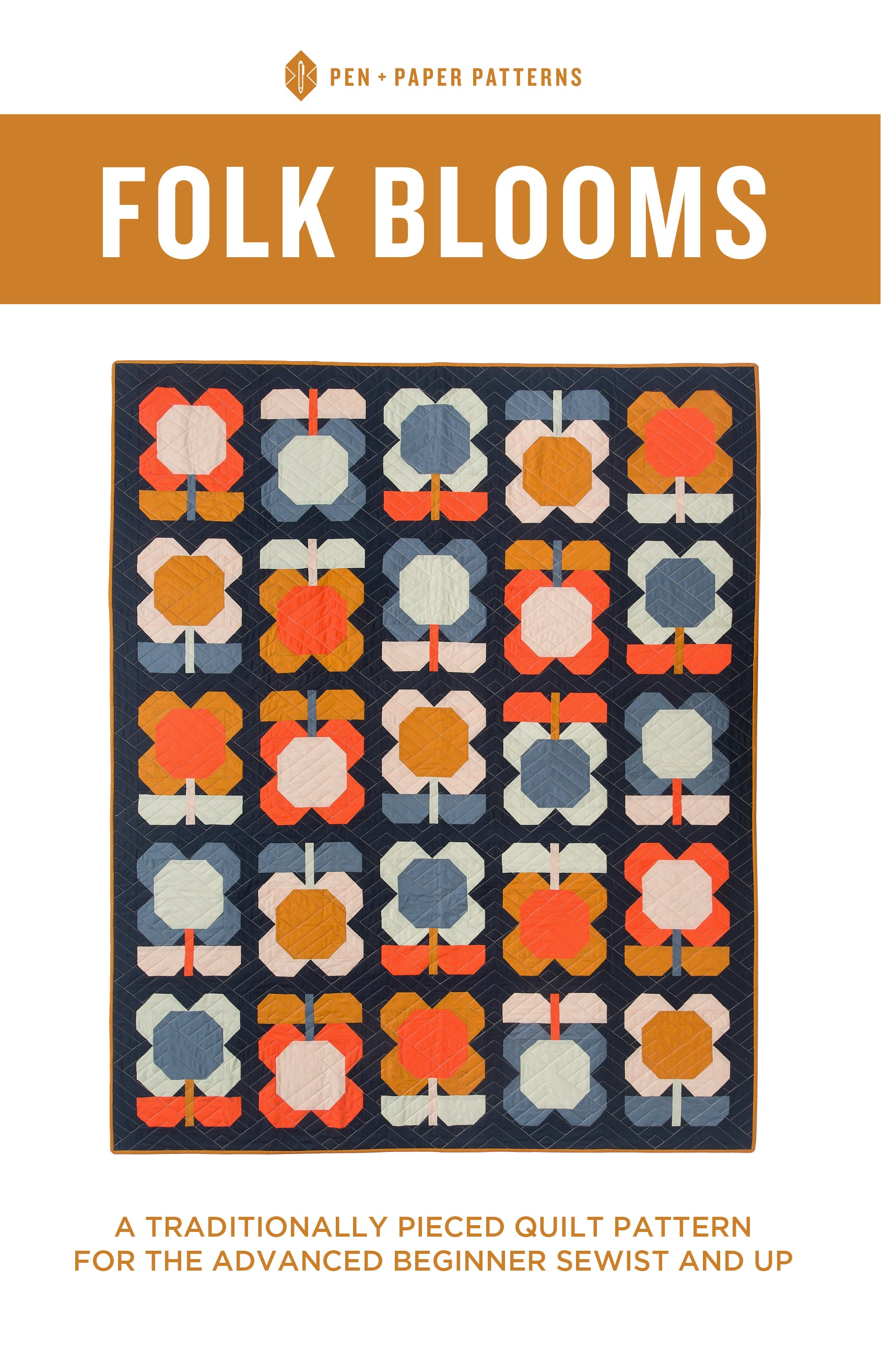 Folk Blooms Quilt Pattern by Pen and Paper Patterns