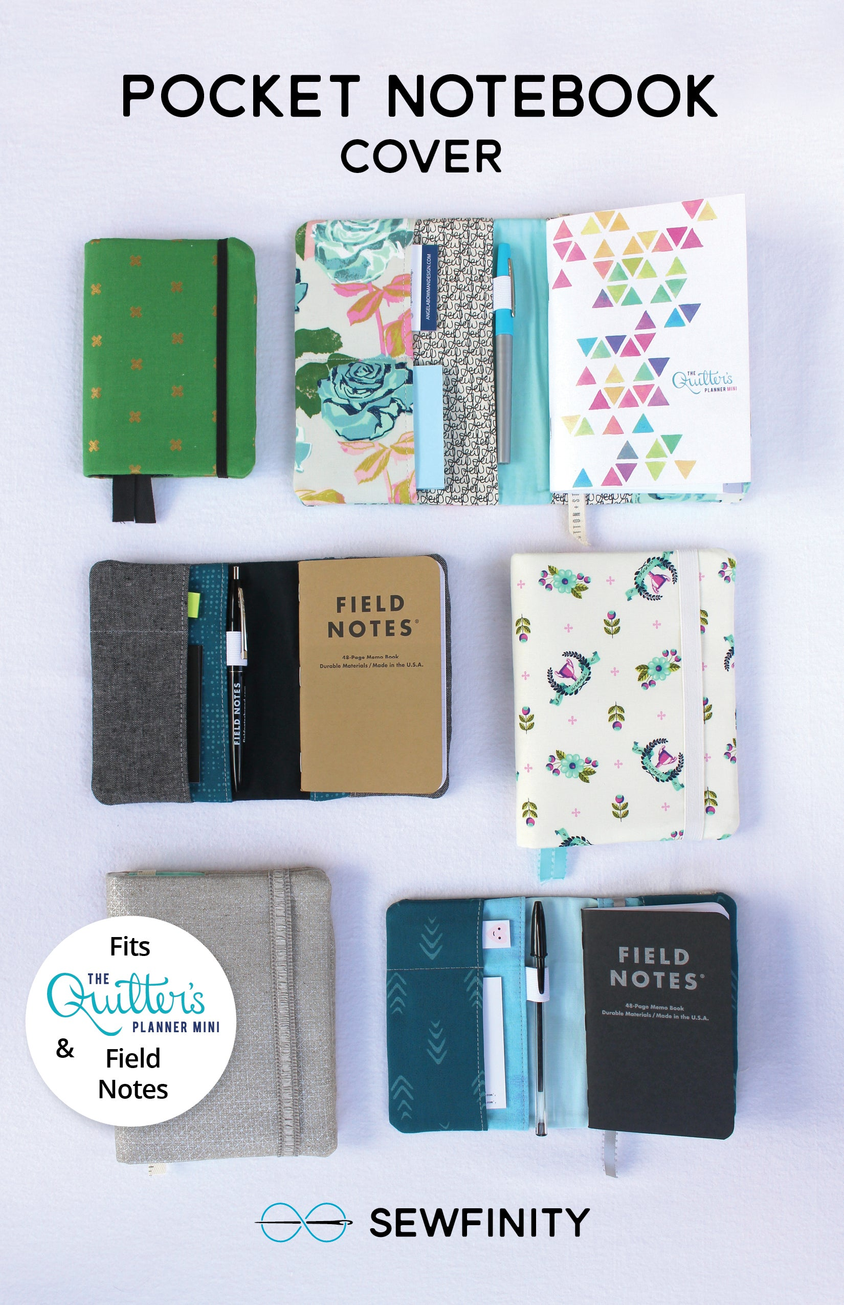 Pocket Notebook Cover Sewing Pattern by Sewfinity
